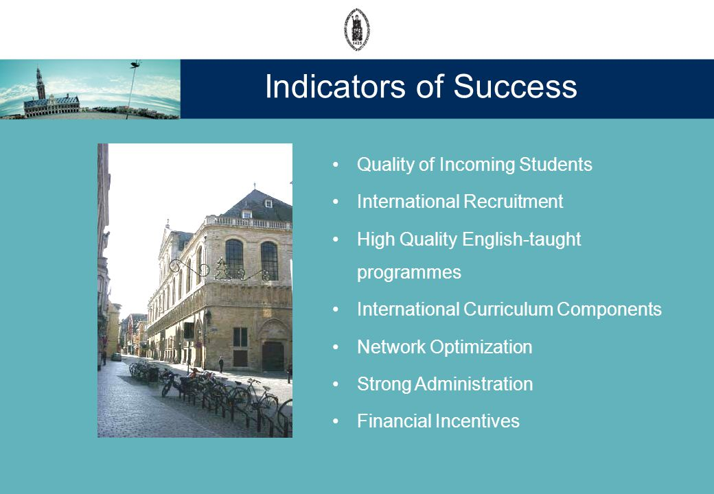 Indicators of Success Quality of Incoming Students International Recruitment High Quality English-taught programmes International Curriculum Components Network Optimization Strong Administration Financial Incentives