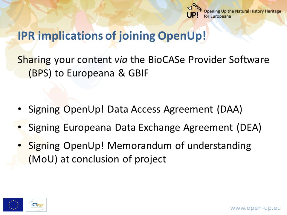 www.open-up.eu IPR implications of joining OpenUp.