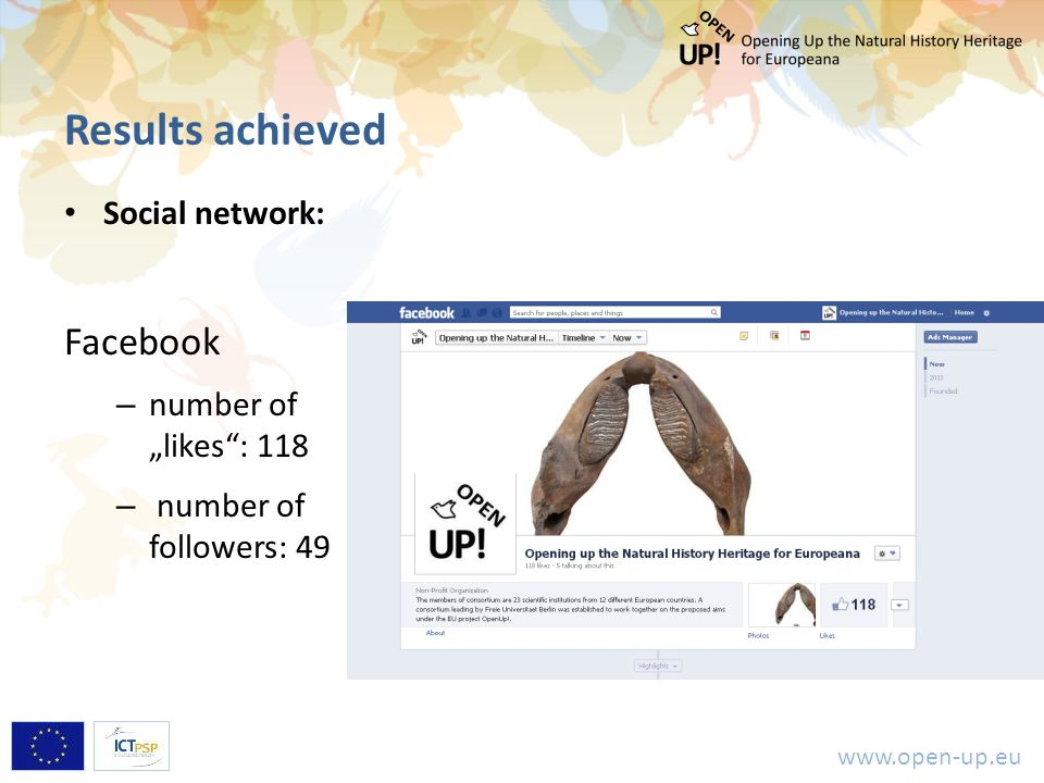 "www.open-up.eu Results achieved Social network: Facebook – number of ""likes"": 118 – number of followers: 49"