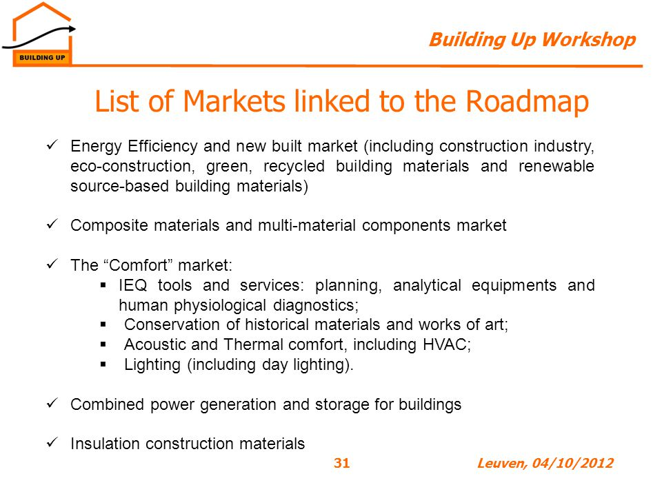 Building Up Workshop 31Leuven, 04/10/2012 List of Markets linked to the Roadmap Energy Efficiency and new built market (including construction industry, eco-construction, green, recycled building materials and renewable source-based building materials) Composite materials and multi-material components market The Comfort market:  IEQ tools and services: planning, analytical equipments and human physiological diagnostics;  Conservation of historical materials and works of art;  Acoustic and Thermal comfort, including HVAC;  Lighting (including day lighting).