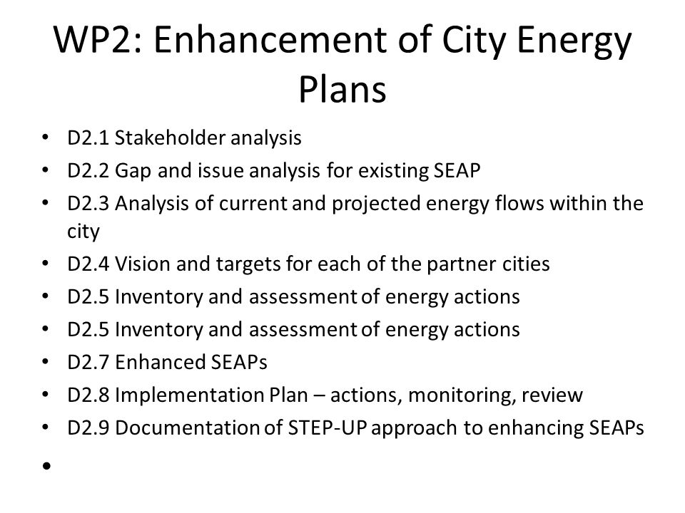 Gap and Issue Analysis SP reviewed all local, regional and national policies relating to SEAPs (buildings, transport, energy management, renewables etc) Mind mapped these to show picture of legislative and policy framework Spreadsheet summary to see where SEAP and City Plan 2, GCV SDP etc align and where not Helps us move forward with the SEAP and input to LDP