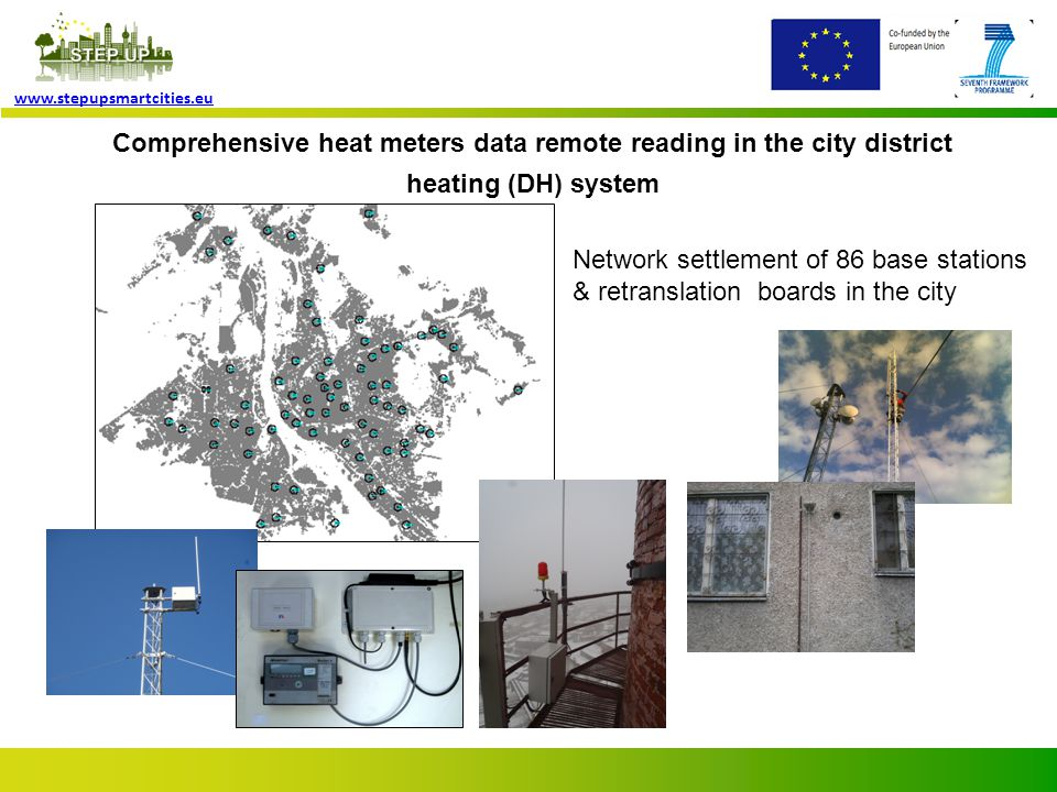 Page 6 www.stepupsmartcities.eu Integrated approach Project includes smart upgraded heat meters in building heat substations for their data remote reading by up-to- date wireless data transmission systems.