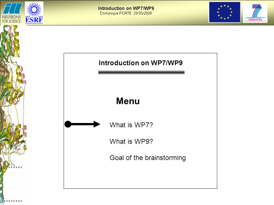 Dominique PORTE 29/05/2008 Menu What is WP7. What is WP9.