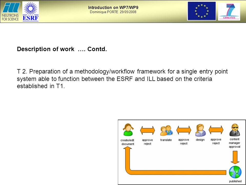 Description of work …. Contd. T 2.