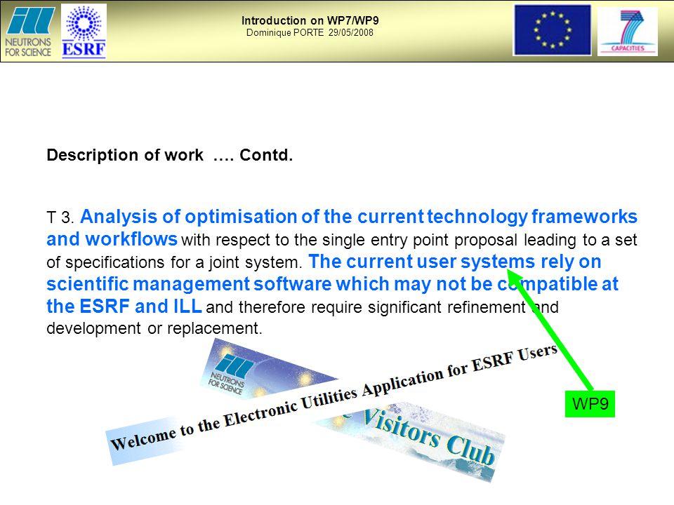 Description of work …. Contd. T 3.