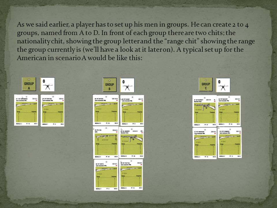 The opponents groups should be directly opposite to the other player.