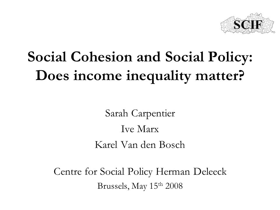 Outline 1.Social cohesion in policy: definitions, indicators 2.Does income inequality matter .