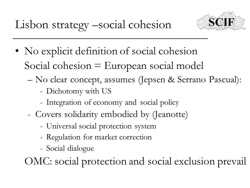 Lisbon strategy –social cohesion No explicit definition of social cohesion Social cohesion = European social model –No clear concept, assumes (Jepsen