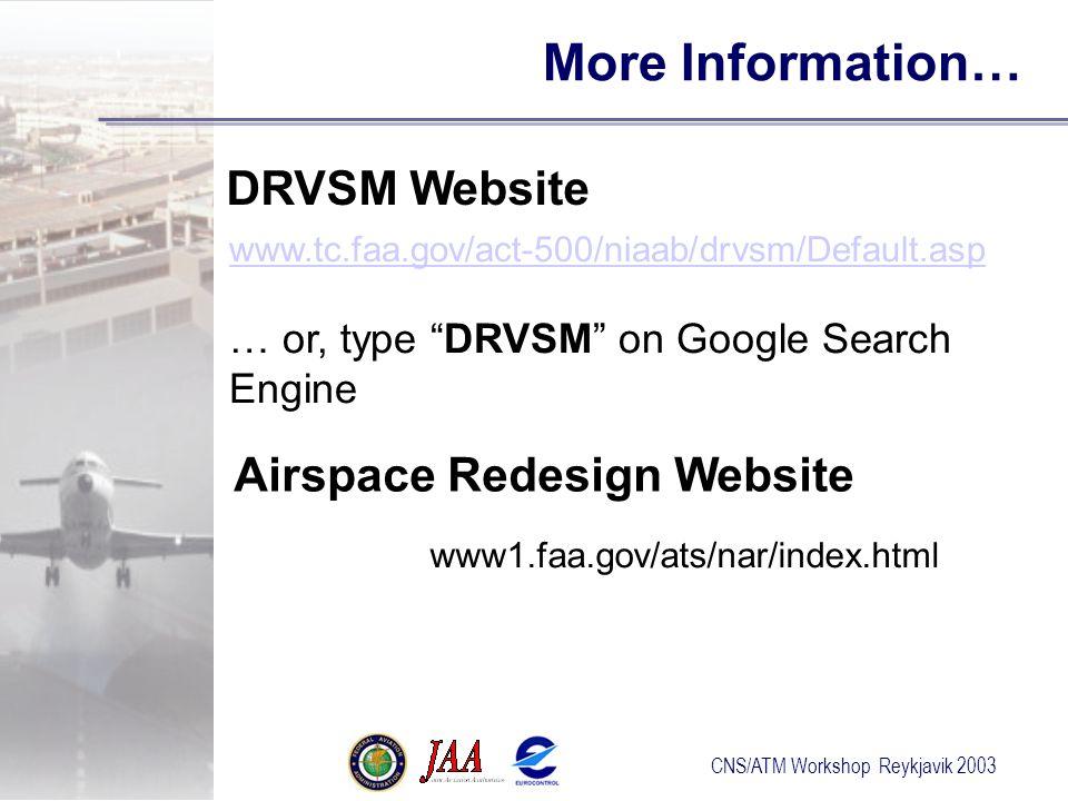 CNS/ATM Workshop Reykjavik 2003 www1.faa.gov/ats/nar/index.html Airspace Redesign Website www.tc.faa.gov/act-500/niaab/drvsm/Default.asp … or, type DRVSM on Google Search Engine DRVSM Website More Information…