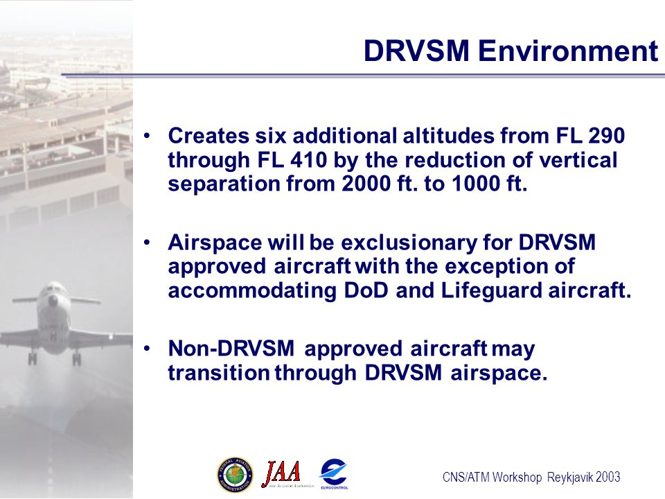 CNS/ATM Workshop Reykjavik 2003 DRVSM Environment Creates six additional altitudes from FL 290 through FL 410 by the reduction of vertical separation from 2000 ft.