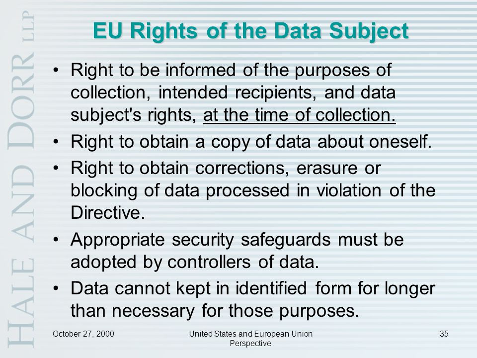 October 27, 2000United States and European Union Perspective 35 EU Rights of the Data Subject Right to be informed of the purposes of collection, intended recipients, and data subject s rights, at the time of collection.