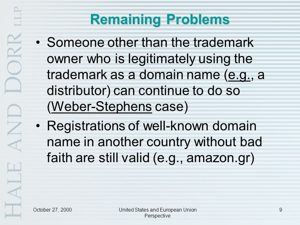 October 27, 2000United States and European Union Perspective 30 Cases Holding ISPs Liable UK: Godfrey v.
