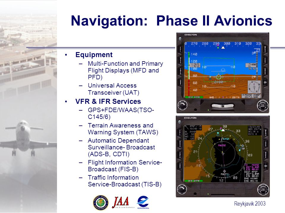 Reykjavik 2003 Navigation: Phase II Avionics Equipment –Multi-Function and Primary Flight Displays (MFD and PFD) –Universal Access Transceiver (UAT) VFR & IFR Services –GPS+FDE/WAAS(TSO- C145/6) –Terrain Awareness and Warning System (TAWS) –Automatic Dependant Surveillance- Broadcast (ADS-B, CDTI) –Flight Information Service- Broadcast (FIS-B) –Traffic Information Service-Broadcast (TIS-B)