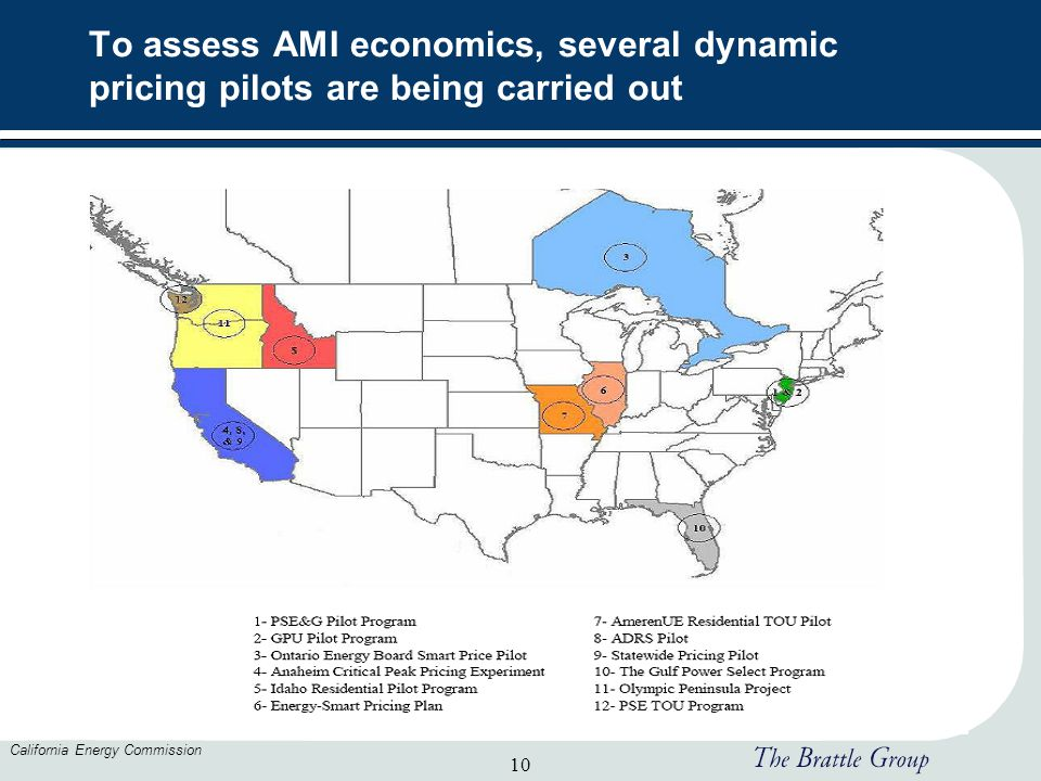 10 California Energy Commission To assess AMI economics, several dynamic pricing pilots are being carried out
