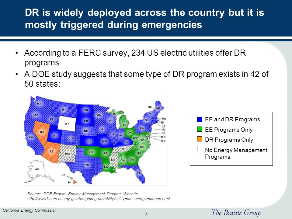 2 California Energy Commission DR is widely deployed across the country but it is mostly triggered during emergencies According to a FERC survey, 234 US electric utilities offer DR programs A DOE study suggests that some type of DR program exists in 42 of 50 states: Source: DOE Federal Energy Management Program Website.