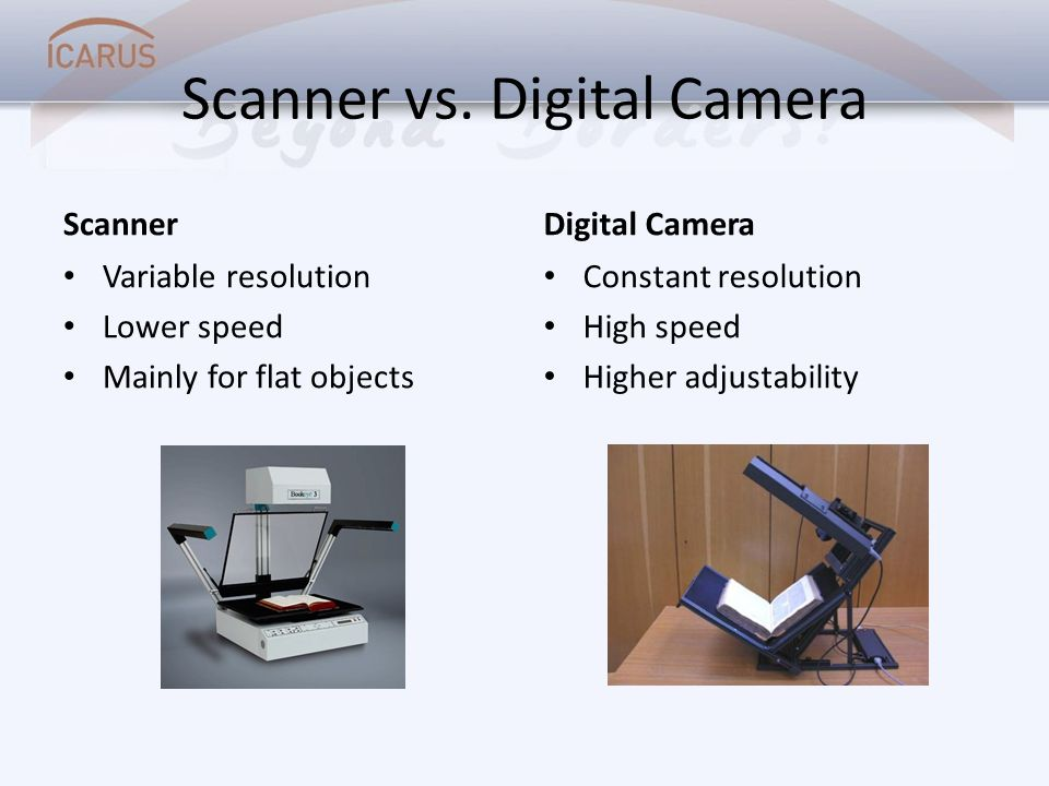 Scanner vs. Digital Camera Scanner Variable resolution Lower speed Mainly for flat objects Digital Camera Constant resolution High speed Higher adjust