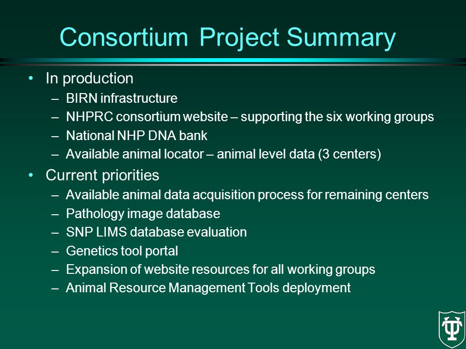 Consortium Project Summary In production –BIRN infrastructure –NHPRC consortium website – supporting the six working groups –National NHP DNA bank –Av