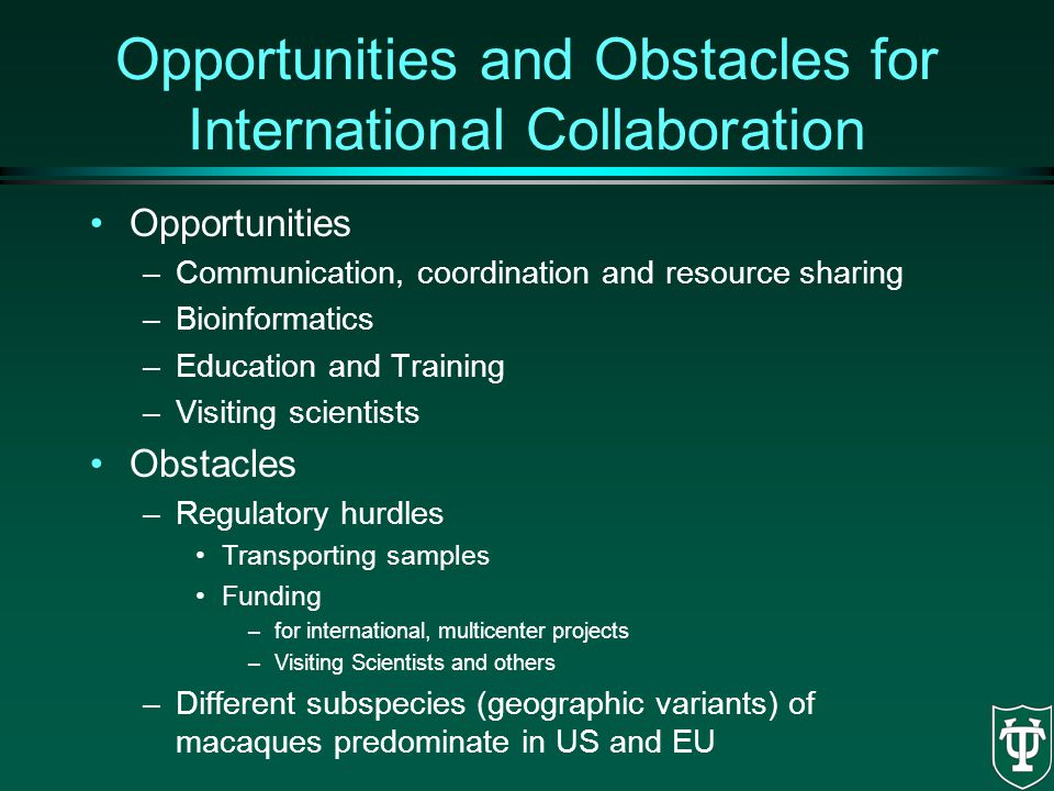 Opportunities and Obstacles for International Collaboration Opportunities –Communication, coordination and resource sharing –Bioinformatics –Education