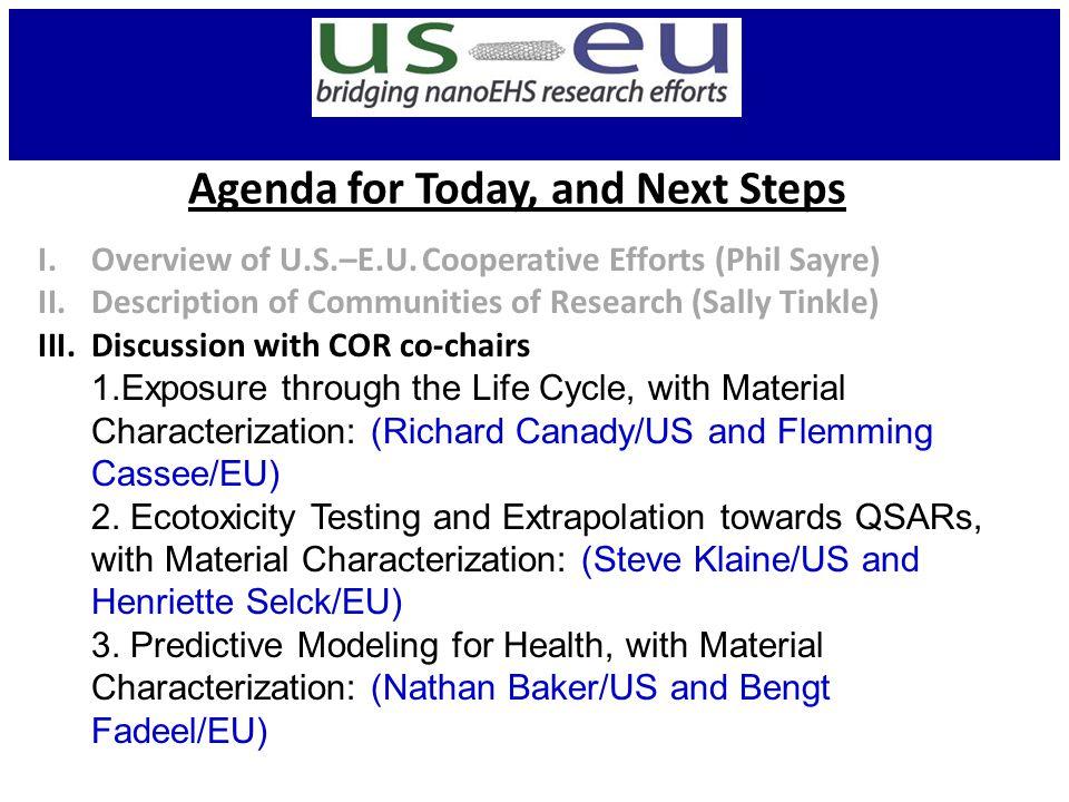 Agenda for Today, and Next Steps I.Overview of U.S.–E.U.