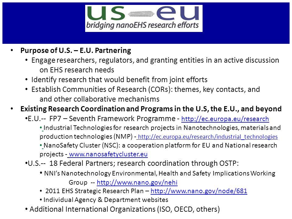 Purpose of U.S. – E.U.