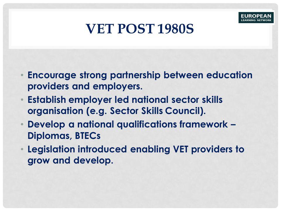VET POST 1980S Encourage strong partnership between education providers and employers. Establish employer led national sector skills organisation (e.g