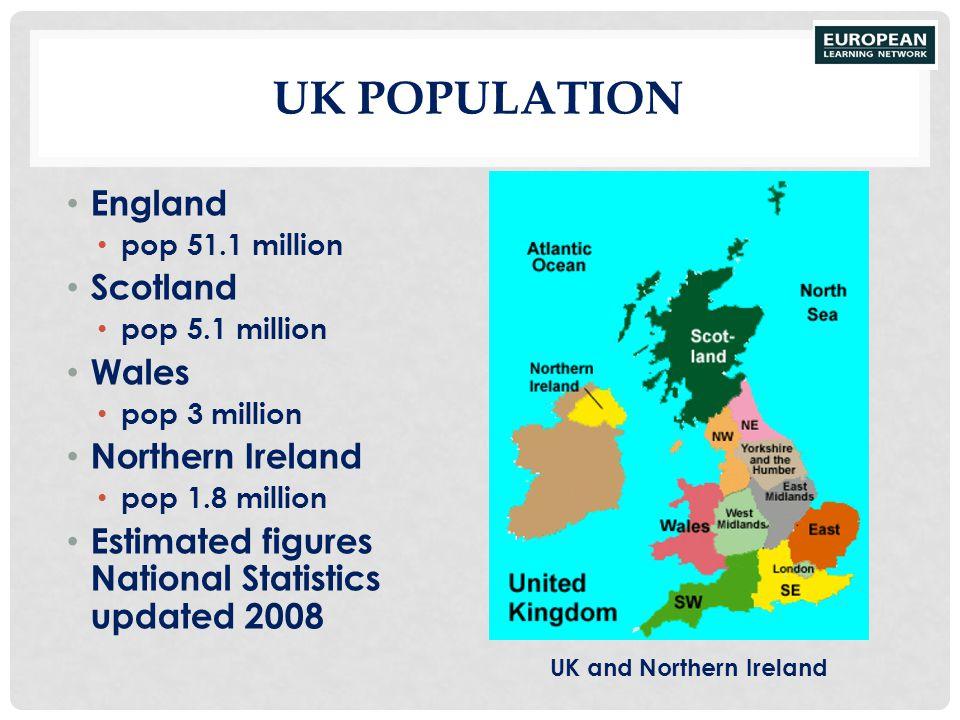 UK POPULATION England pop 51.1 million Scotland pop 5.1 million Wales pop 3 million Northern Ireland pop 1.8 million Estimated figures National Statis