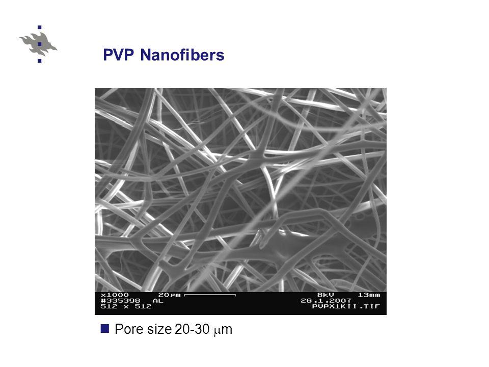 Pore size 20-30  m PVP Nanofibers