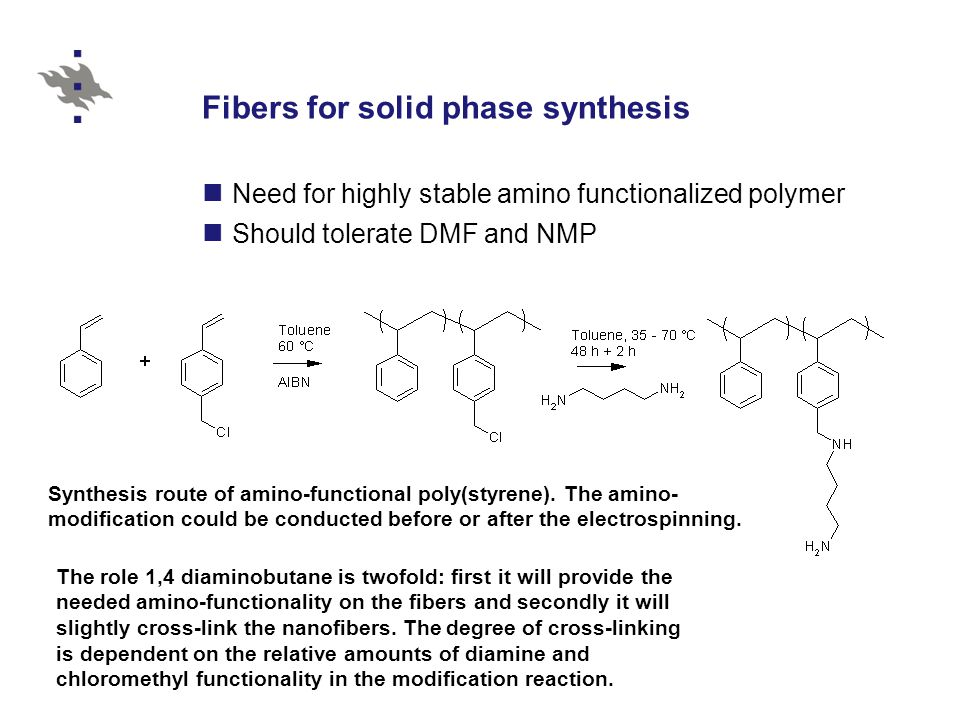 Fibers for solid phase synthesis Need for highly stable amino functionalized polymer Should tolerate DMF and NMP Synthesis route of amino-functional p