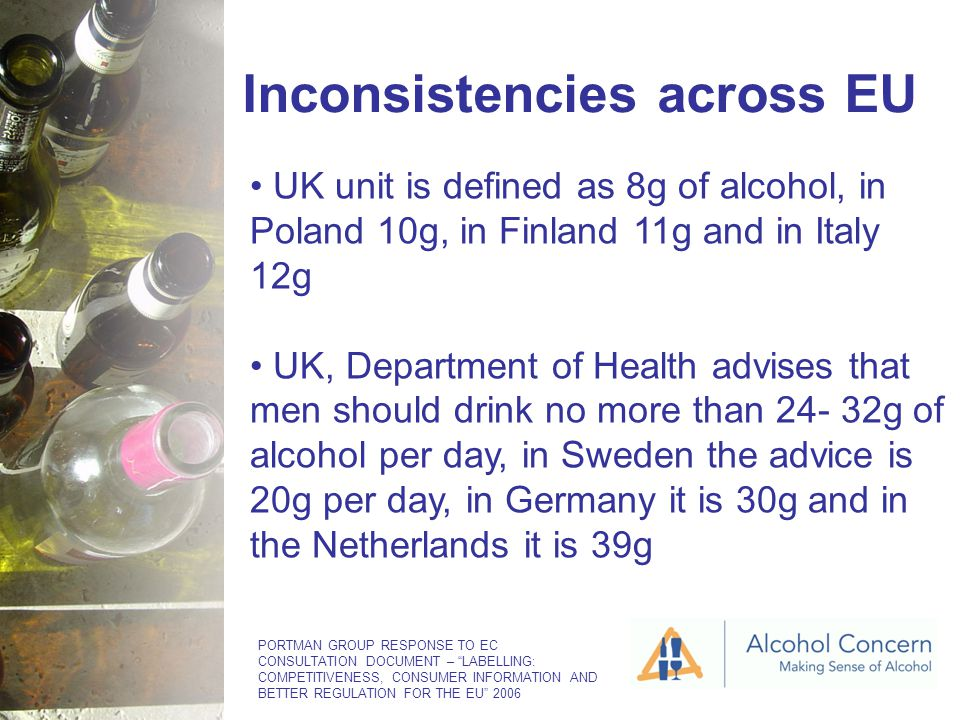 Inconsistencies across EU UK unit is defined as 8g of alcohol, in Poland 10g, in Finland 11g and in Italy 12g UK, Department of Health advises that men should drink no more than 24- 32g of alcohol per day, in Sweden the advice is 20g per day, in Germany it is 30g and in the Netherlands it is 39g PORTMAN GROUP RESPONSE TO EC CONSULTATION DOCUMENT – LABELLING: COMPETITIVENESS, CONSUMER INFORMATION AND BETTER REGULATION FOR THE EU 2006