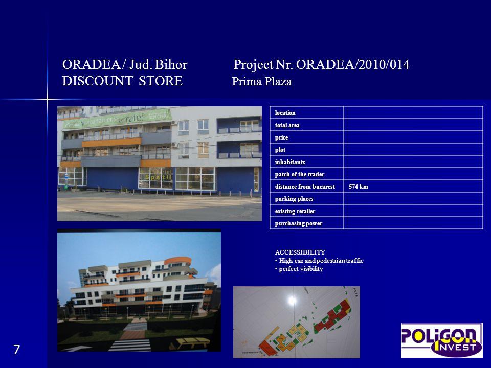 ORADEA / Jud. Bihor Project Nr. ORADEA/2010/014 DISCOUNT STORE Prima Plaza 7location total area price plot inhabitants patch of the trader distance fr