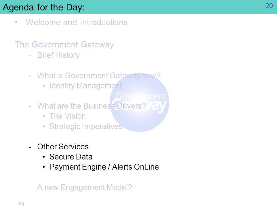 20 Agenda for the Day: Welcome and Introductions The Government Gateway ­Brief History ­What is Government Gateway now.