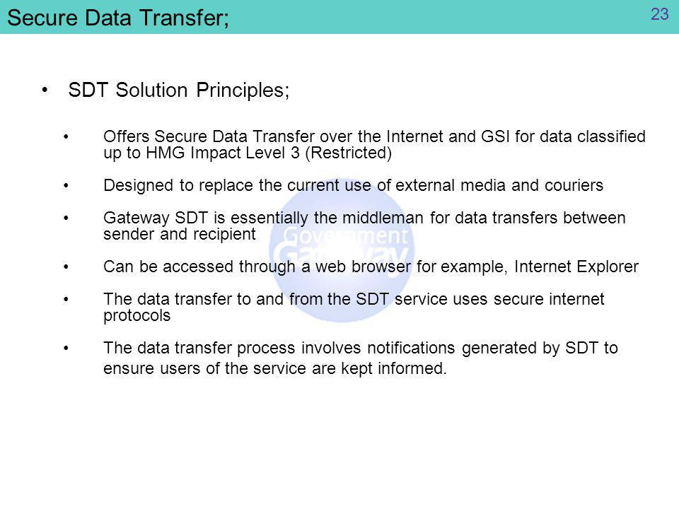 Secure Data Transfer; SDT Solution Principles; Offers Secure Data Transfer over the Internet and GSI for data classified up to HMG Impact Level 3 (Restricted) Designed to replace the current use of external media and couriers Gateway SDT is essentially the middleman for data transfers between sender and recipient Can be accessed through a web browser for example, Internet Explorer The data transfer to and from the SDT service uses secure internet protocols The data transfer process involves notifications generated by SDT to ensure users of the service are kept informed.
