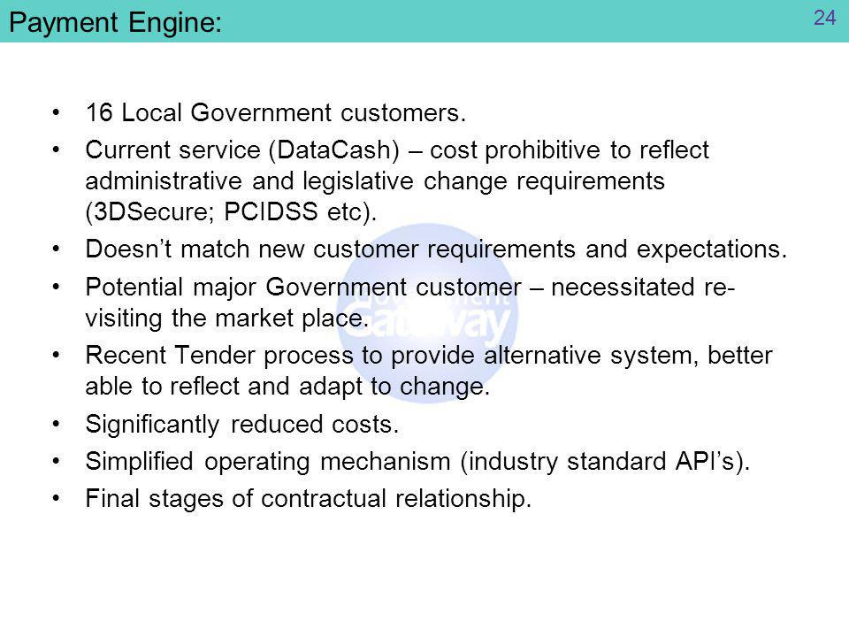Payment Engine: 16 Local Government customers.