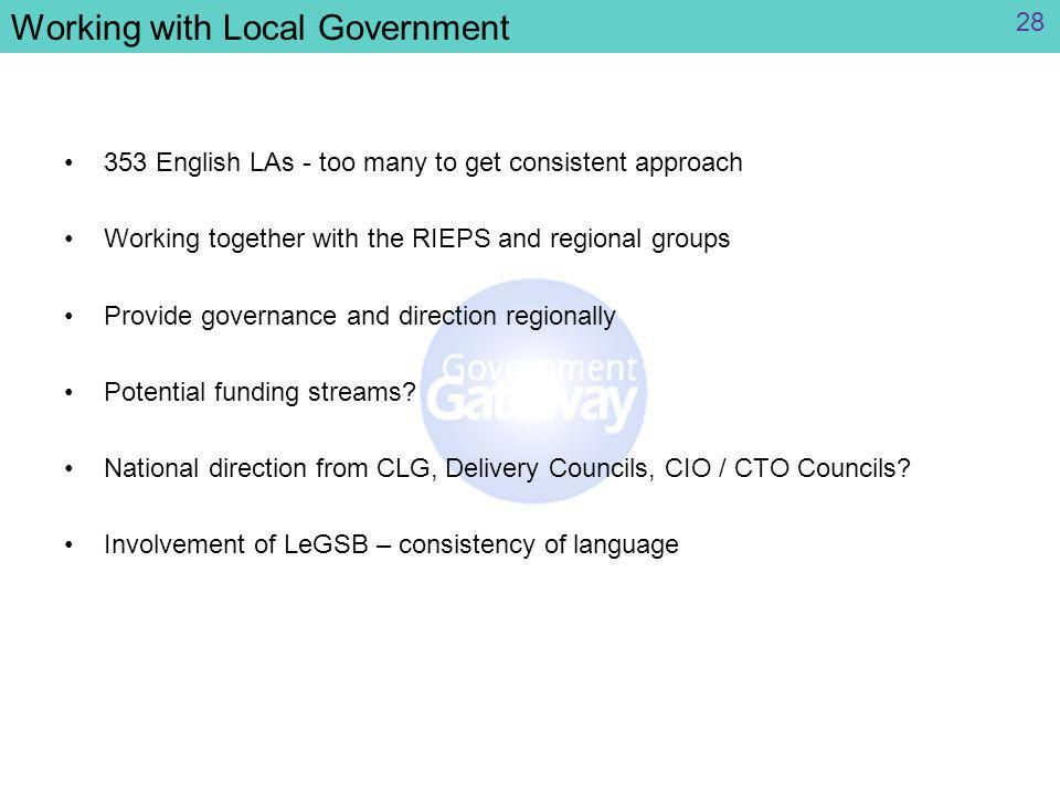 Working with Local Government 353 English LAs - too many to get consistent approach Working together with the RIEPS and regional groups Provide governance and direction regionally Potential funding streams.