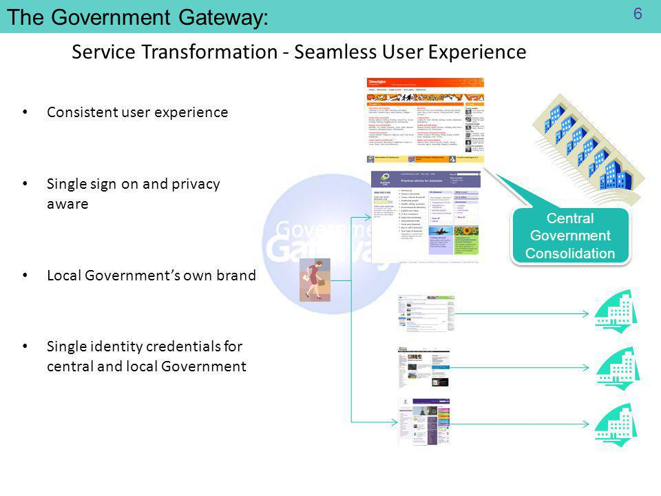 Service Transformation - Seamless User Experience Consistent user experience Single sign on and privacy aware Local Government's own brand Single identity credentials for central and local Government Central Government Consolidation The Government Gateway: 6