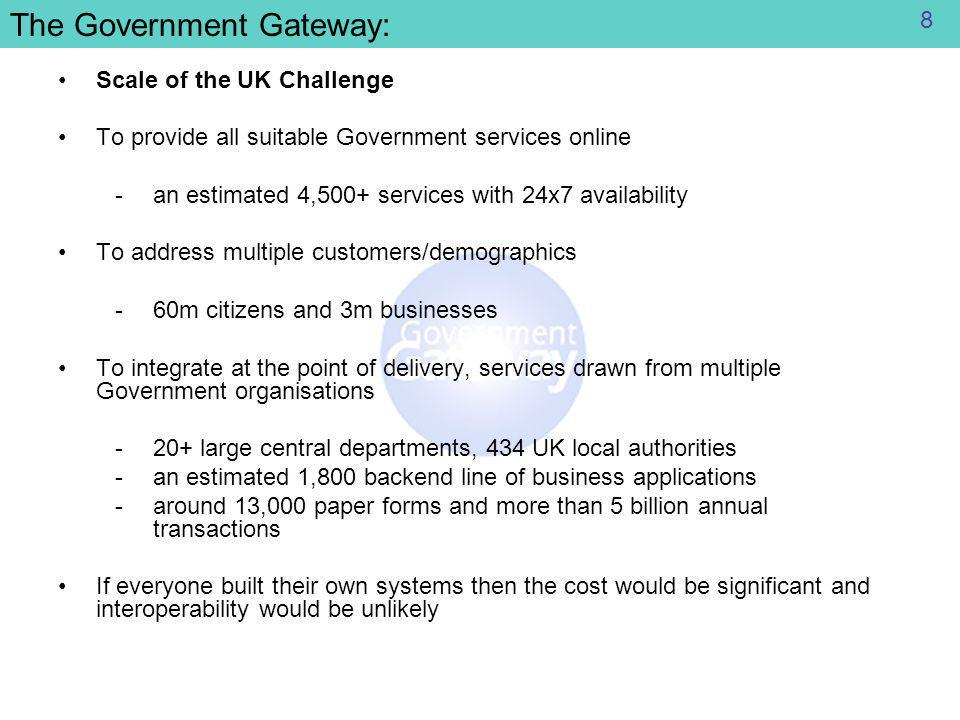 The Government Gateway: Scale of the UK Challenge To provide all suitable Government services online ­an estimated 4,500+ services with 24x7 availability To address multiple customers/demographics ­60m citizens and 3m businesses To integrate at the point of delivery, services drawn from multiple Government organisations ­20+ large central departments, 434 UK local authorities ­an estimated 1,800 backend line of business applications ­around 13,000 paper forms and more than 5 billion annual transactions If everyone built their own systems then the cost would be significant and interoperability would be unlikely 8