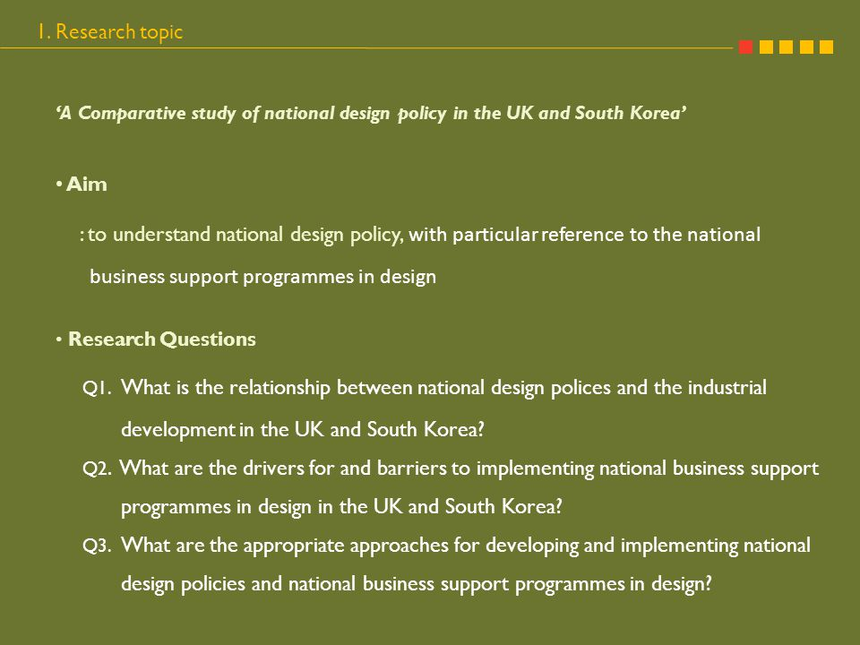 Questionnaire survey National Design Centres Design NGOs Regional Development Agency Business support agency Research institute of economy Twenty questionnaires distributed in ten countries, eleven were collected from six countries University 3.