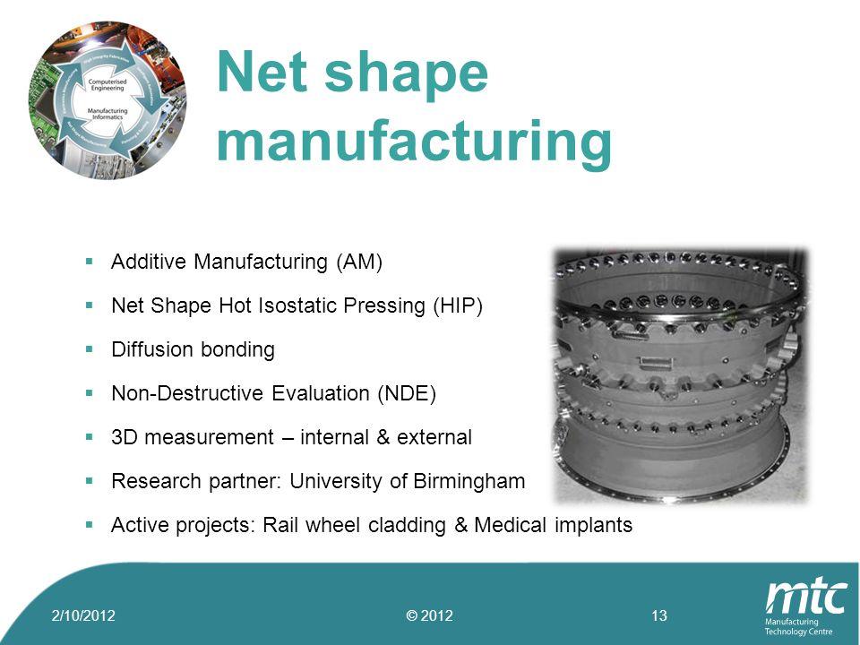  Additive Manufacturing (AM)  Net Shape Hot Isostatic Pressing (HIP)  Diffusion bonding  Non-Destructive Evaluation (NDE)  3D measurement – inter