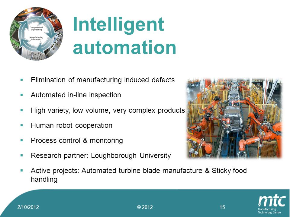  Elimination of manufacturing induced defects  Automated in-line inspection  High variety, low volume, very complex products  Human-robot cooperat