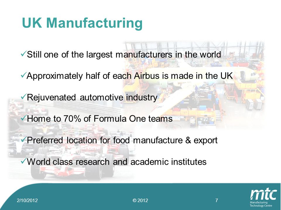 Still one of the largest manufacturers in the world Approximately half of each Airbus is made in the UK Rejuvenated automotive industry Home to 70% of