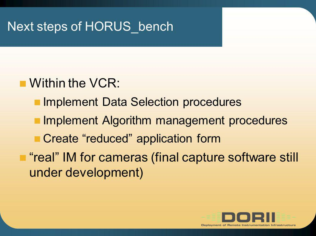 Next steps of HORUS_bench Within the VCR: Implement Data Selection procedures Implement Algorithm management procedures Create reduced application form real IM for cameras (final capture software still under development)