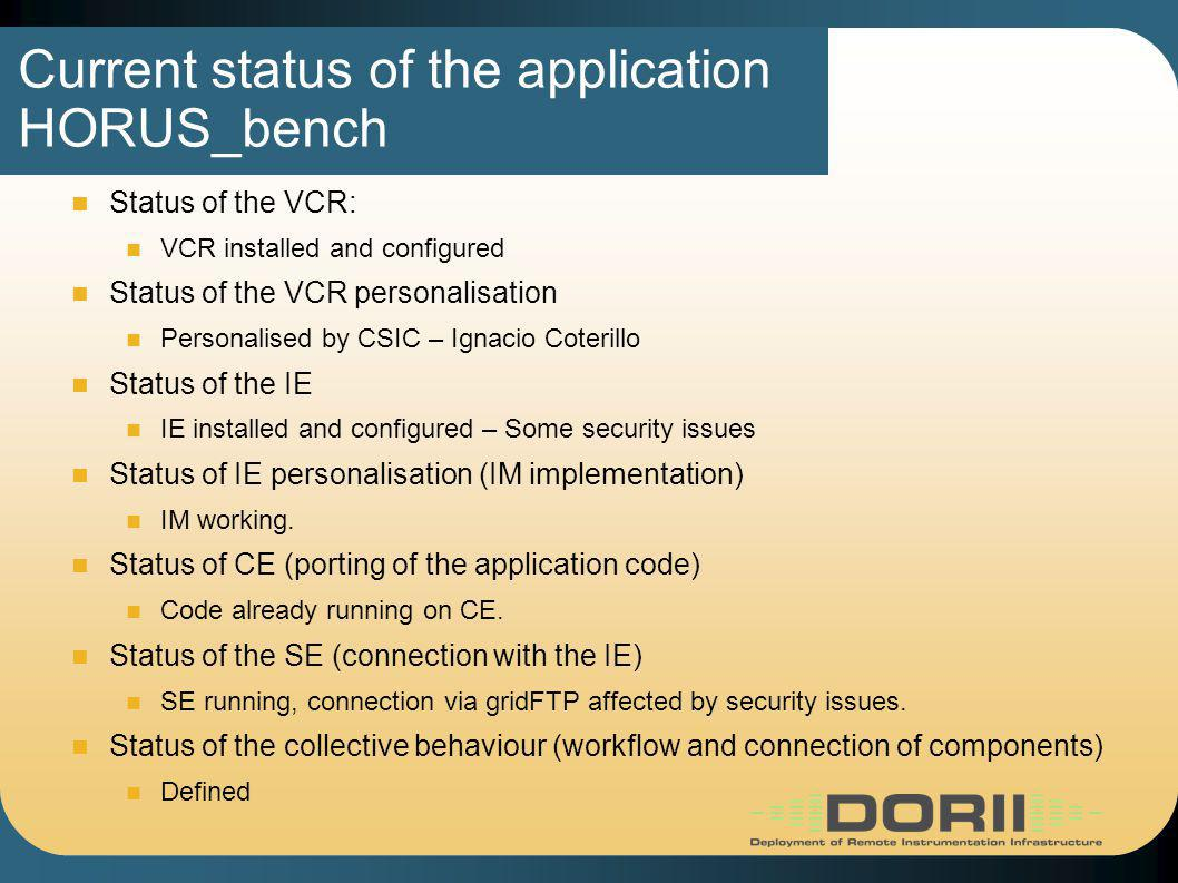 Current status of the application HORUS_bench Status of the VCR: VCR installed and configured Status of the VCR personalisation Personalised by CSIC – Ignacio Coterillo Status of the IE IE installed and configured – Some security issues Status of IE personalisation (IM implementation) IM working.