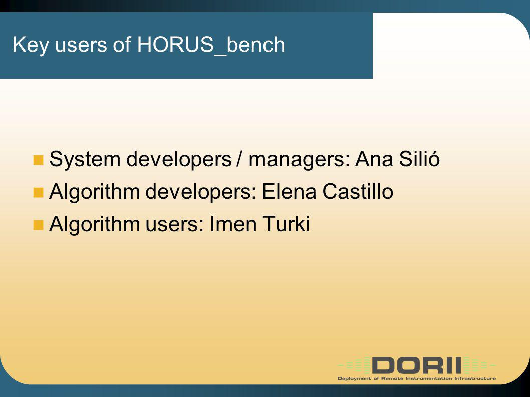 Key users of HORUS_bench System developers / managers: Ana Silió Algorithm developers: Elena Castillo Algorithm users: Imen Turki