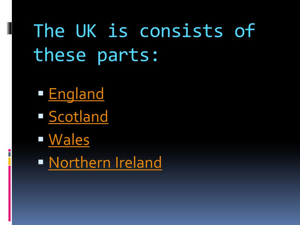 The UK is consists of these parts:  England England  Scotland Scotland  Wales Wales  Northern Ireland Northern Ireland