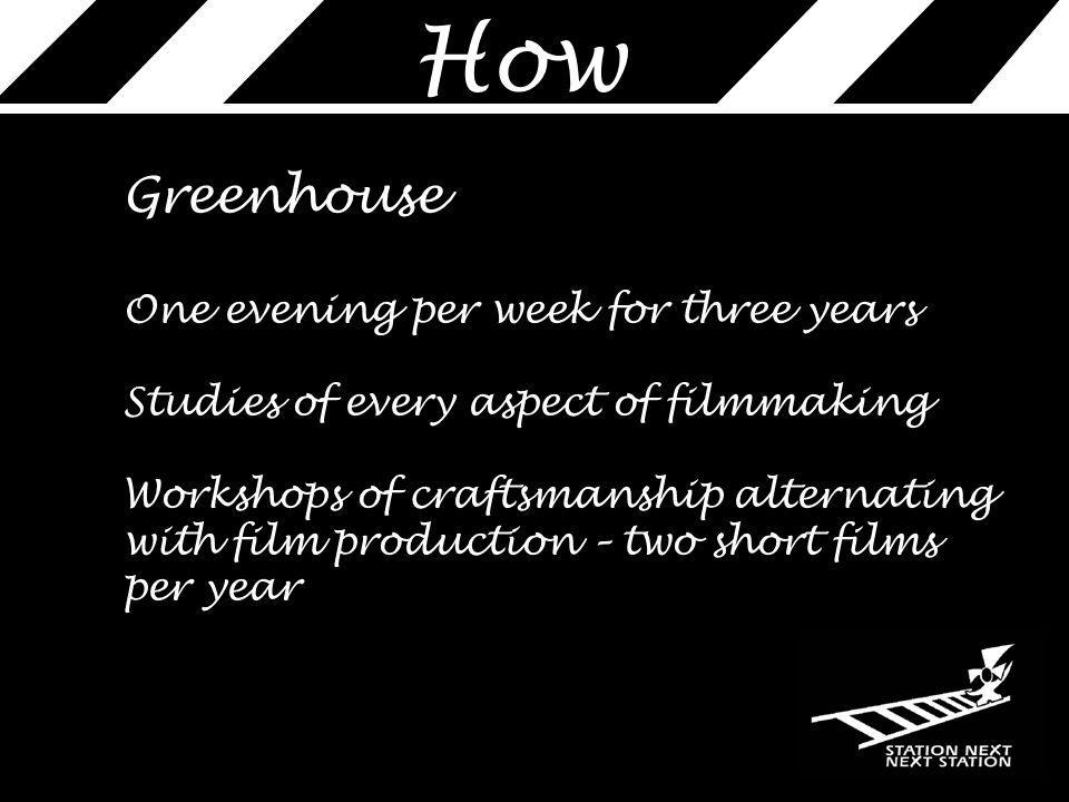 How Greenhouse One evening per week for three years Studies of every aspect of filmmaking Workshops of craftsmanship alternating with film production – two short films per year