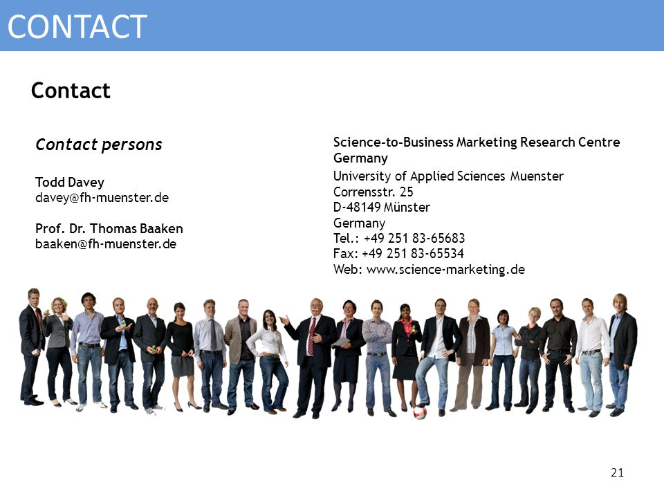 Science-to-Business Marketing Research Centre Germany University of Applied Sciences Muenster Corrensstr.