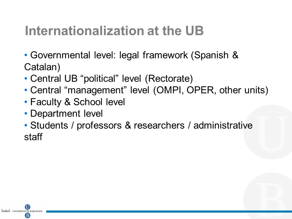 Internationalization at the UB Governmental level: legal framework (Spanish & Catalan) Central UB political level (Rectorate) Central management level (OMPI, OPER, other units) Faculty & School level Department level Students / professors & researchers / administrative staff