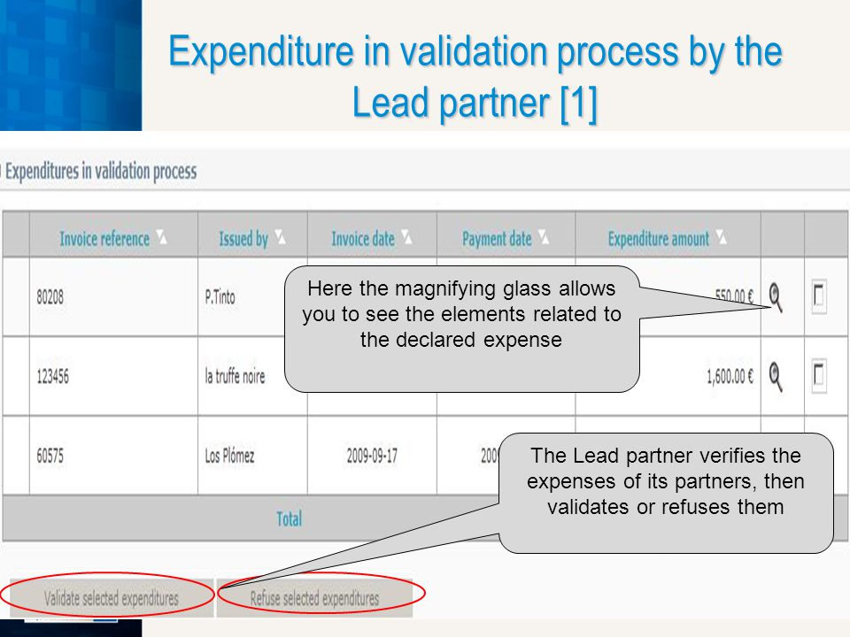 Expenditure in validation process by the Lead partner [1] The Lead partner verifies the expenses of its partners, then validates or refuses them Here the magnifying glass allows you to see the elements related to the declared expense