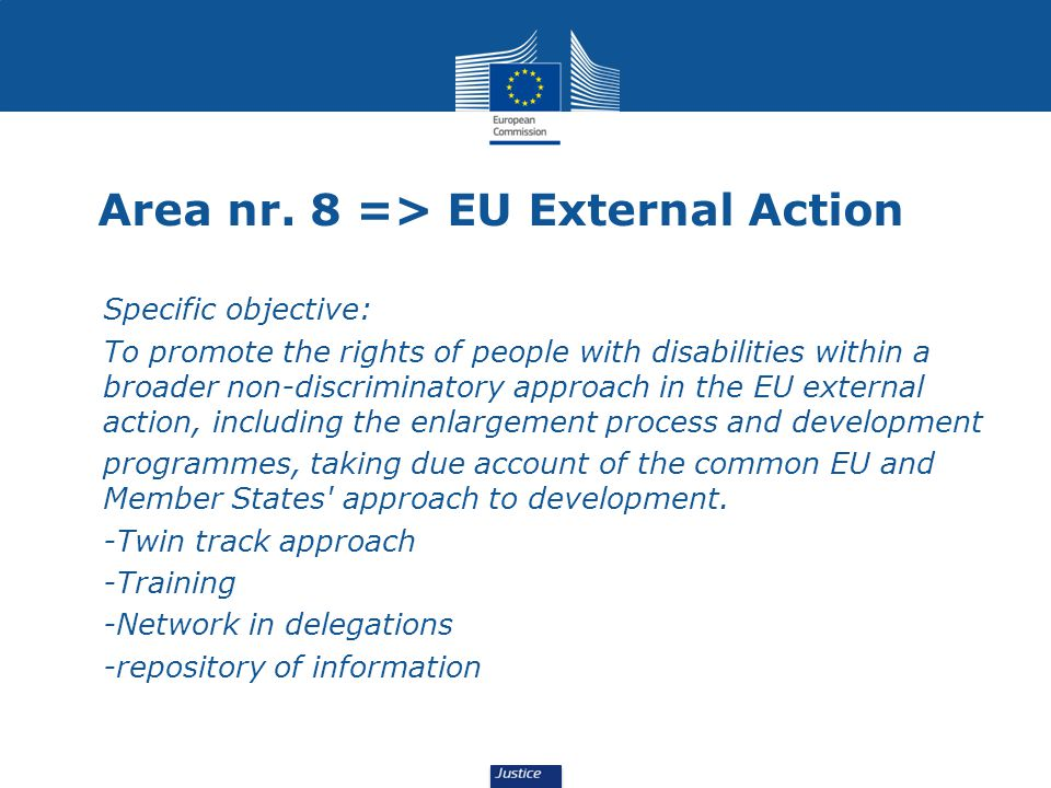 Area nr. 8 => EU External Action Specific objective: To promote the rights of people with disabilities within a broader non-discriminatory approach in