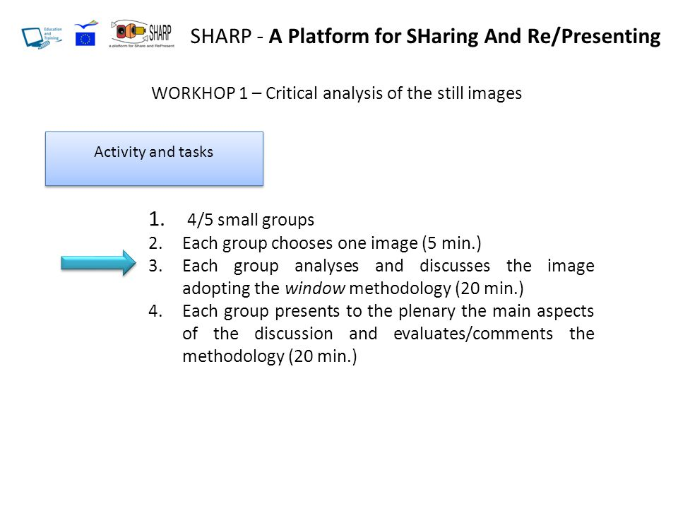 SHARP - A Platform for SHaring And Re/Presenting WORKHOP 1 – Critical analysis of the still images Activity and tasks 1.